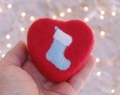 Felted Soap Red Soap with Blue Christmas Stocking (Sleigh Ride)