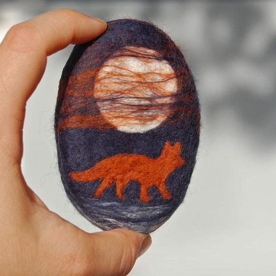 Felted Soap Fox and the Full Moon  ( White Tea and Ginger )