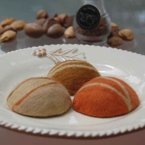 Set of Three Pebbles ( Felted Pumpkin Pie Soaps )