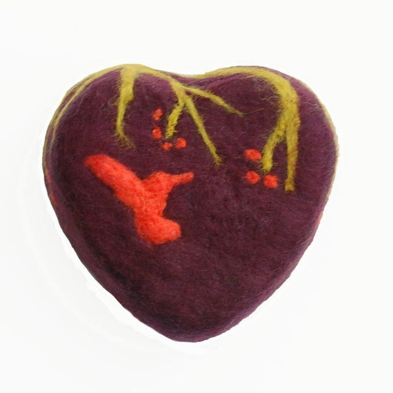 Felted Soap with a Hummingbird (Plumeria)