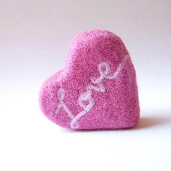 Felted Soap Pink Heart ( Plumeria )
