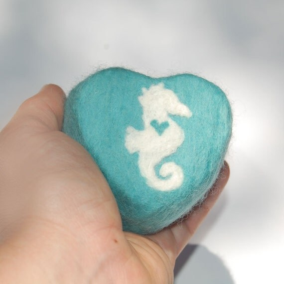 RESERVED Felted Soap Aqua Heart with a White Seahorse