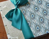 Wedding Guest Book, Posh Peacock with Jade, Select a size, MADE upon ORDER