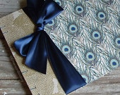 Peacock Wedding Guest Book or Baby Shower Guest Book, with choice of ribbon color {MADE upon ORDER}