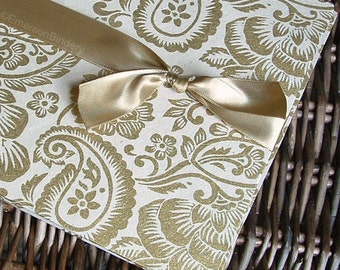 Gold Wedding Guest Book, 50th Anniversary Guest Book, Gold and Cream Paisley {MADE upon ORDER}