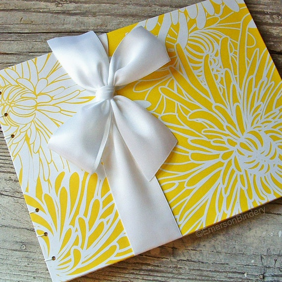 Wedding Guest Book, Mums in Canary Yellow, Select a size, MADE upon ORDER