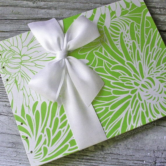 Baby Shower Guest Book, Green Flash Wedding, Green Mums, {MADE upon ORDER}