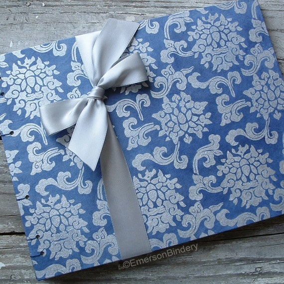 Wedding Guest Book, Indigo Dyed Lotus Damask, LARGE 9x7, READY to SHIP