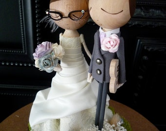 Custom Wedding Cake Topper with Custom Wedding Dress - MilkTea