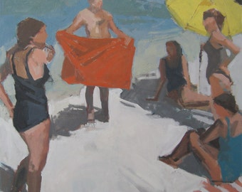 """At the beach: Matted 11x11"""" Archival Print - Signed"""