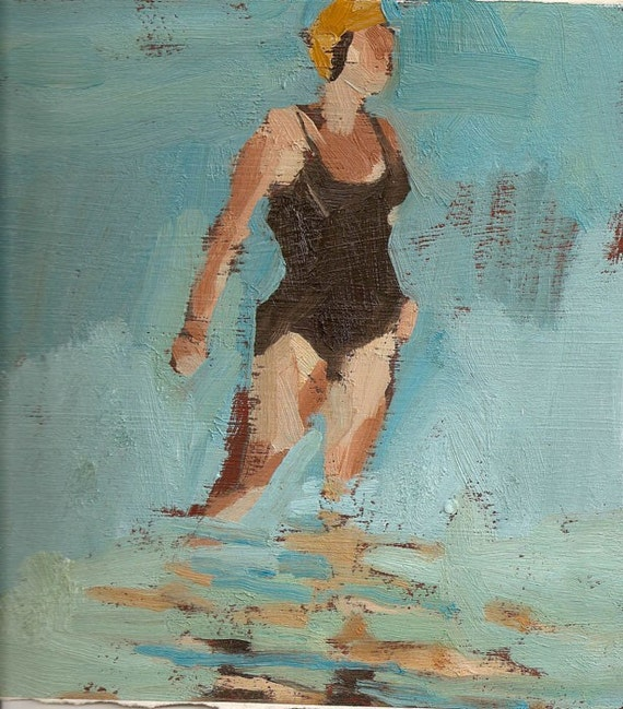 """Single swimmer black: Matted 7.5x9.5"""" Archival Print - Signed"""