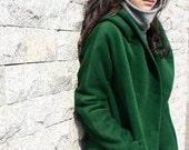 Green Sheep plush short overcoat
