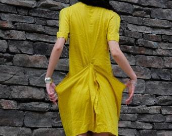 yellow cotton linen irregular dress