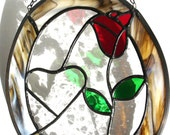 Heart and rose stained glass panel Valentines day gift