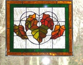 Stained glass panel Autumn leaves, orange, green, yellow