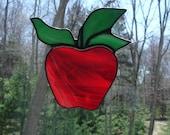 Red apple stained glass suncatcher for the teacher