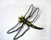 Dragonfly stained glass lime green summer suncatcher garden art