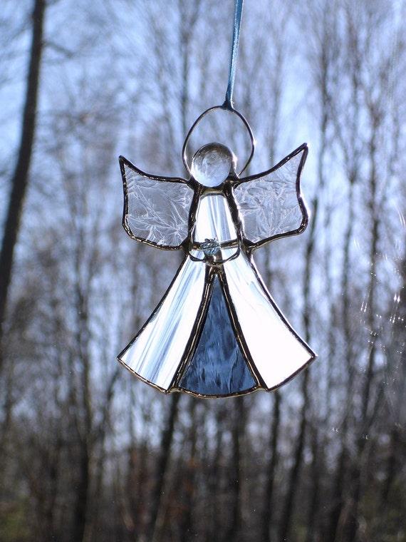 March birthstone angel, stained glass angel aquamarine suncatcher