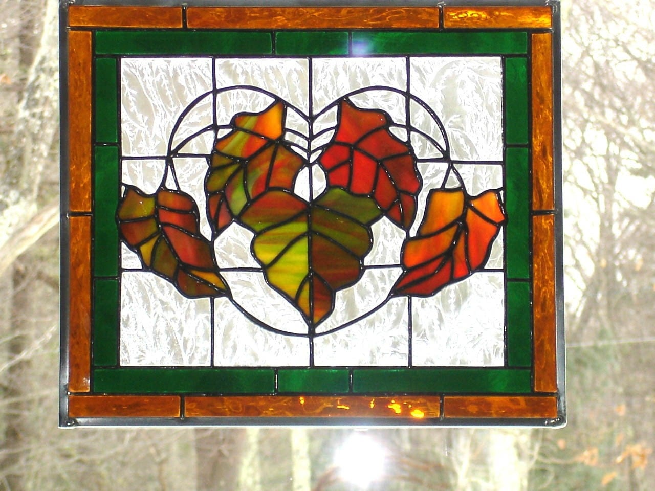 Stained Glass Panel Autumn Leaves Orange Green Yellow