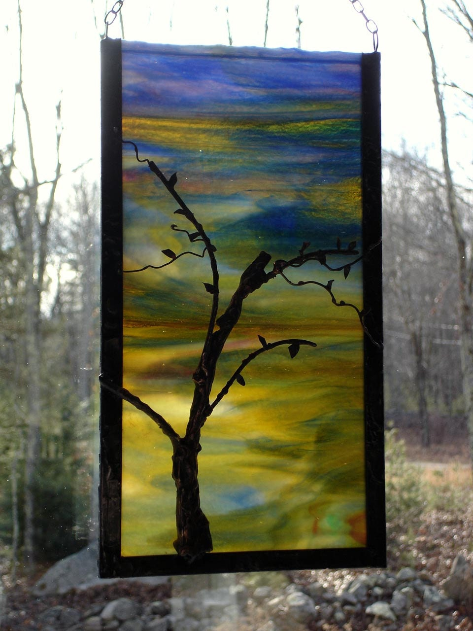 Stained Glass Contemporary Winter Tree Silhouette Panel