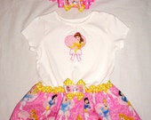 Special Listing for our3luvs - Two Pretty Princess Dresses - Belle, Cinderella, Sleeping Beauty, Snow White - with matching Headband Bow