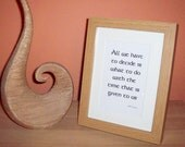 All We Have To Decide... Framed Tolkien Quote