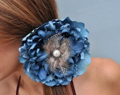 Royal Blue Silk Flower Hair Tie Piece With Pearl Button  Feather Detail