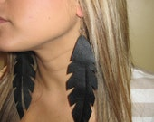Extra Large Black Leather Feather Earrings