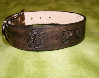 Personalized leather collar with DRAGON