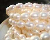 26% off, 15.5 Inch Strand, 9-10x7.5-8mm, Wonderful Lustrous Natural Creamy White Rice Pearls - Bridal Jewelry, June Birthday, BEAUTIFUL