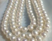30% off, 15.5 Inch strand, 7.5-8mm, Top Quality, Lustrous Genuine Round Freswater Pearls