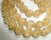 7 Inch strand - 6.5-7mm - Genuine Golden Rutilated Quartz Smooth Round beads