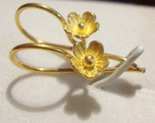 2 pcs, 22x12 mm, Handmade 24K Gold Vermeil over 925 Sterling Silver Ear wires, Lotus Flowers, EW-0015