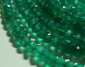 1/2 strand, 4-5mm, Gorgeous Green Onyx Micro Faceted Rondelle