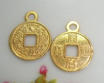 2 pcs - 24K Gold Vermeil over Sterling Silver Chinese Ancient Coin Charm