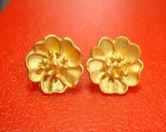 Absolutely Beautiful, Rich 24K Gold on Pure Sterling Silver - 2 pairs - EP-0007