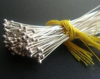 BULK 100 pcs, 24g 40mm, 1.5 inch, Bali Sterling Silver Handmade Ball End Headpins, Ball - 1.3mm