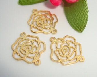 Bulk 10 pcs 24K Gold Vermeil Sterling Silver 2 links open work Rose Blossom Link Connector - PC-0013