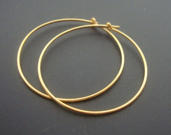 10% off - BULK 20 pcs - 35mm - Handmade Findings, 24K Gold Vermeil over 925 Sterling Silver Hoops