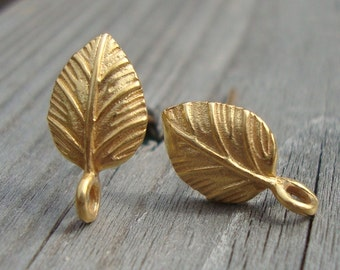 1 Pair - 24k vermeil Leaf Ear Post with Connector Ring - EP-0003
