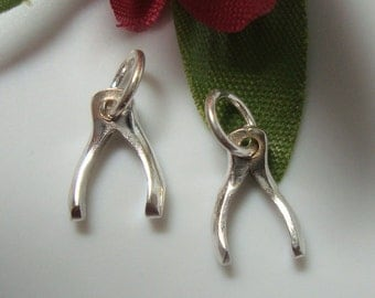 5% off, 6 pcs, Sterling Silver Tiny Wishbone Good Luck Charm