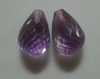 AAA - 2 pcs - 13x9mm - Gem Quality - Beautiful Amethyst Half Drilled Micro Faceted Teardrop Briolette - 3D cut