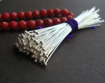 Bulk 50 pcs, 26 gauge ga g, 50mm, 2 inch, Bali Sterling Silver Handmade Ball End Headpins, Ball - 1.3mm