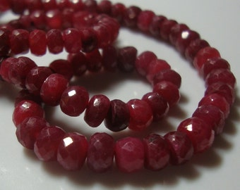 1/2 Strand, 3-3.5mmRuby Rondelles Beads, Cherry Red Color - J17-1