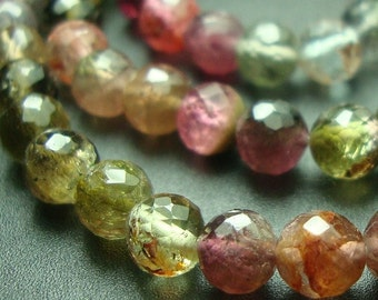 4-4.5mm, 1/2 strand , Beautiful Tourmaline Micro Faceted Round Beads