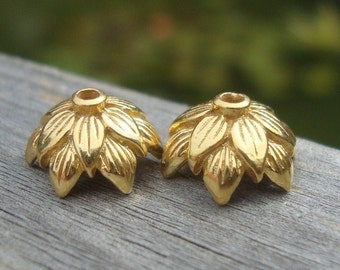 Bulk 6 pcs, 10mm x 5 mm, 24K Vermeil over Sterling Silver flower Double Layer leaf motif beadcaps