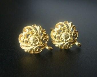 2 pcs- Bali Artisans, 24k Vermeil over Sterling Silver Filigree Floral Ear Post Earrings, Ear Nuts included 12x10 mm - EP-0001