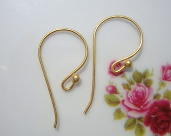 Handmade 24K Vermeil over Sterling Silver French Ear wire with Ball, Bulk 10 pairs, 24.5x12mm, 21 gauge wire - EW-0005