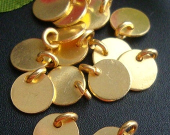 5% off 30 pcs, 24 ga 6mm disc, 3mm open jump ring, 24K Gold vermeil on Sterling Silver, Handmade