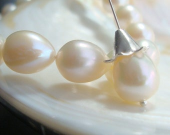 Freshwater Pearl, Fresh Water Pearls Natural Creamy White Drop Pearls 8.5-9.5mm - 6 pearls